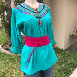 Handmade Authentic Mexican Blouse Hand-Stitched